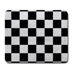 Square1 Black Marble & White Leather Large Mousepads