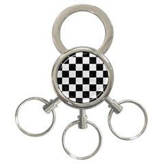 Square1 Black Marble & White Leather 3 Ring Key Chains