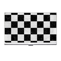 Square1 Black Marble & White Leather Business Card Holders