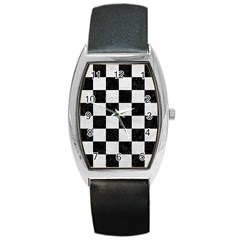 Square1 Black Marble & White Leather Barrel Style Metal Watch