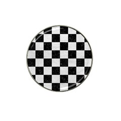 Square1 Black Marble & White Leather Hat Clip Ball Marker