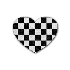 Square1 Black Marble & White Leather Heart Coaster (4 Pack)