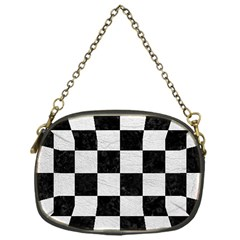 Square1 Black Marble & White Leather Chain Purses (one Side)