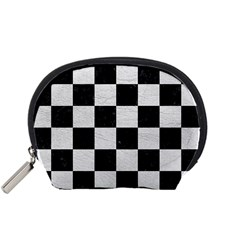 Square1 Black Marble & White Leather Accessory Pouches (small)