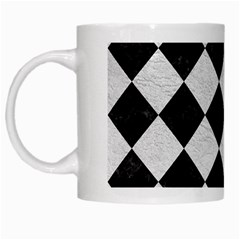 Square2 Black Marble & White Leather White Mugs