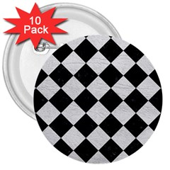 Square2 Black Marble & White Leather 3  Buttons (10 Pack)