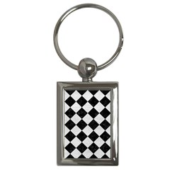 Square2 Black Marble & White Leather Key Chains (rectangle)