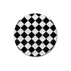 Square2 Black Marble & White Leather Magnet 3  (round)