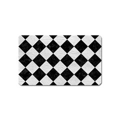 Square2 Black Marble & White Leather Magnet (name Card)