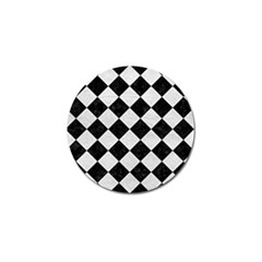 Square2 Black Marble & White Leather Golf Ball Marker
