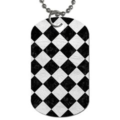 Square2 Black Marble & White Leather Dog Tag (two Sides)