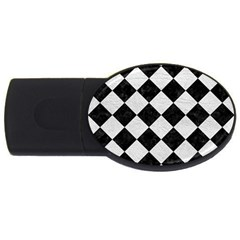 Square2 Black Marble & White Leather Usb Flash Drive Oval (4 Gb)