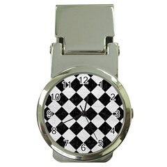 Square2 Black Marble & White Leather Money Clip Watches