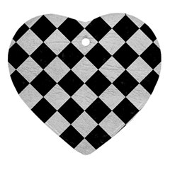 Square2 Black Marble & White Leather Heart Ornament (two Sides)