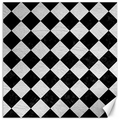Square2 Black Marble & White Leather Canvas 20  X 20