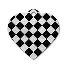 Square2 Black Marble & White Leather Dog Tag Heart (one Side)