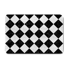 Square2 Black Marble & White Leather Small Doormat
