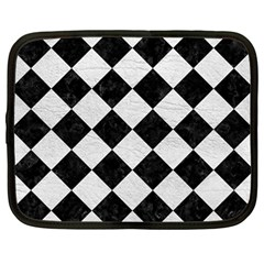 Square2 Black Marble & White Leather Netbook Case (large)