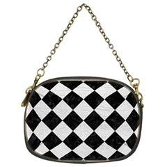 Square2 Black Marble & White Leather Chain Purses (one Side)