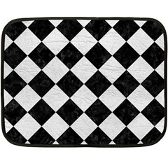 Square2 Black Marble & White Leather Double Sided Fleece Blanket (mini)