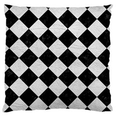 Square2 Black Marble & White Leather Large Cushion Case (two Sides)