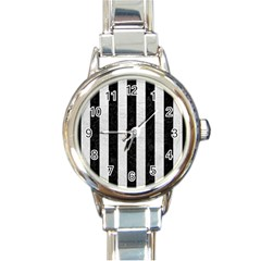 Stripes1 Black Marble & White Leather Round Italian Charm Watch