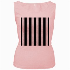 Stripes1 Black Marble & White Leather Women s Pink Tank Top