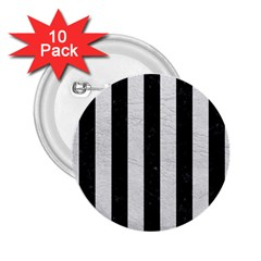 Stripes1 Black Marble & White Leather 2 25  Buttons (10 Pack)