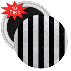 Stripes1 Black Marble & White Leather 3  Magnets (10 Pack)