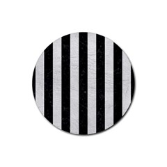 Stripes1 Black Marble & White Leather Rubber Coaster (round)