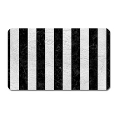 Stripes1 Black Marble & White Leather Magnet (rectangular)