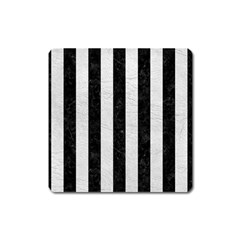 Stripes1 Black Marble & White Leather Square Magnet