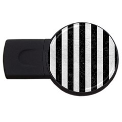 Stripes1 Black Marble & White Leather Usb Flash Drive Round (2 Gb)