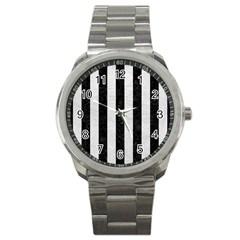 Stripes1 Black Marble & White Leather Sport Metal Watch