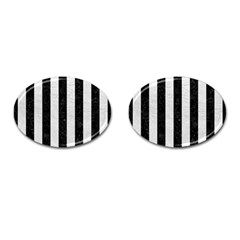 Stripes1 Black Marble & White Leather Cufflinks (oval)