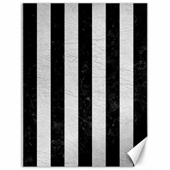 Stripes1 Black Marble & White Leather Canvas 12  X 16