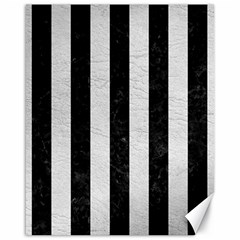 Stripes1 Black Marble & White Leather Canvas 16  X 20