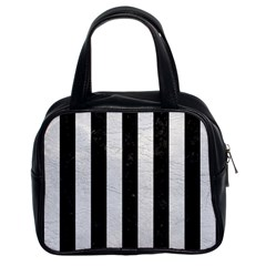 Stripes1 Black Marble & White Leather Classic Handbags (2 Sides)