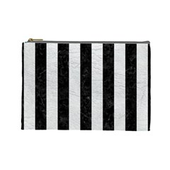 Stripes1 Black Marble & White Leather Cosmetic Bag (large)