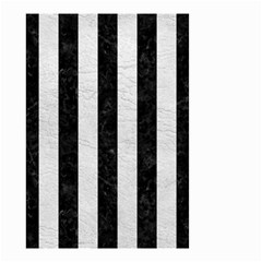 Stripes1 Black Marble & White Leather Small Garden Flag (two Sides)