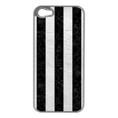 Stripes1 Black Marble & White Leather Apple Iphone 5 Case (silver)
