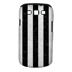 Stripes1 Black Marble & White Leather Samsung Galaxy S Iii Classic Hardshell Case (pc+silicone)