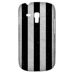 Stripes1 Black Marble & White Leather Galaxy S3 Mini