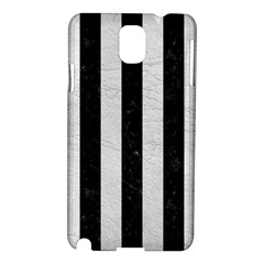 Stripes1 Black Marble & White Leather Samsung Galaxy Note 3 N9005 Hardshell Case