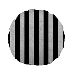 Stripes1 Black Marble & White Leather Standard 15  Premium Flano Round Cushions