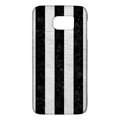 Stripes1 Black Marble & White Leather Galaxy S6