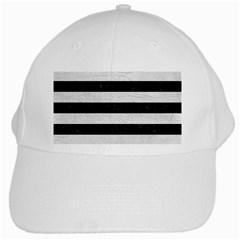 Stripes2 Black Marble & White Leather White Cap