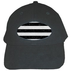 Stripes2 Black Marble & White Leather Black Cap
