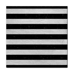 Stripes2 Black Marble & White Leather Tile Coasters