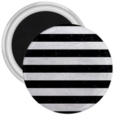 Stripes2 Black Marble & White Leather 3  Magnets